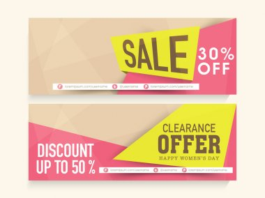 Sale web header or banner for Women's Day.