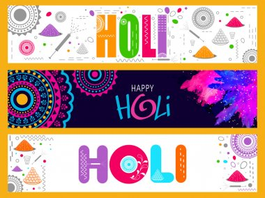 Creative colourful website header or banner set for Indian Festival of Colours, Happy Holi celebration. stock vector