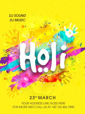 Pamphlet, Banner or Flyer for Holi Celebration.
