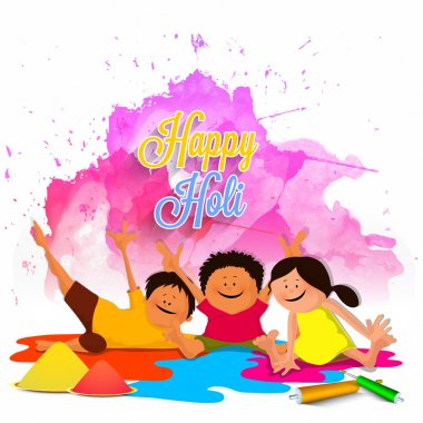 Cute little kids with pichkari, playing and enjoying on occasion of Happy Holi. stock vector