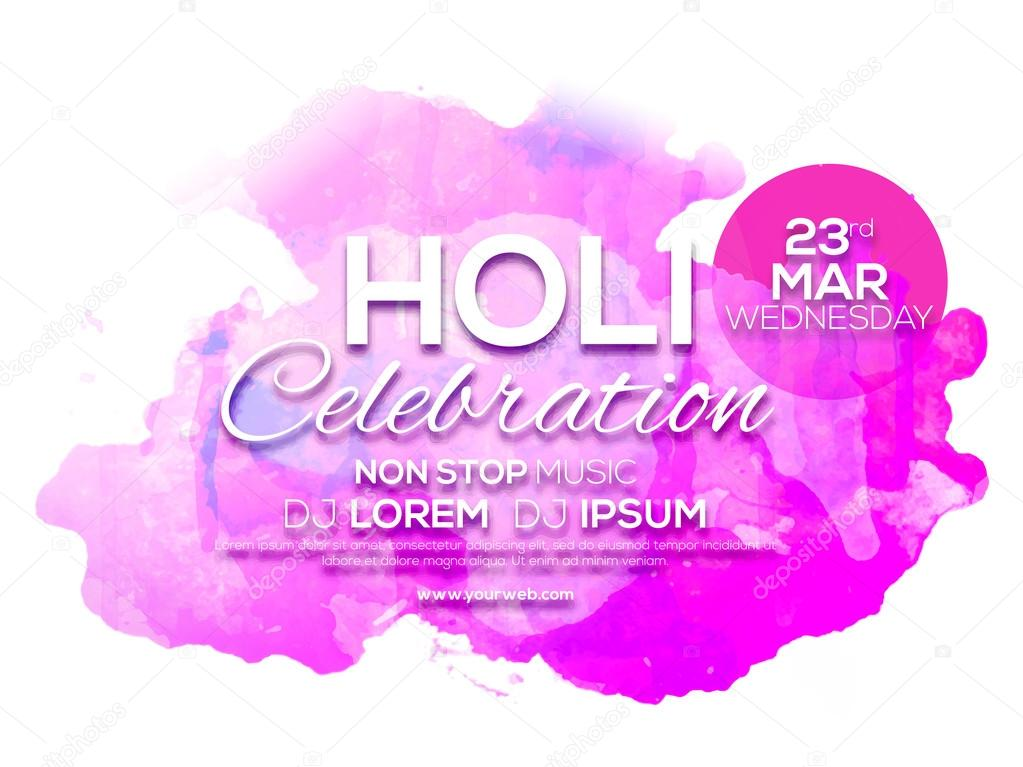 Invitation Card design for Holi celebration. — Stock Vector ...