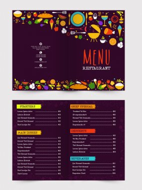Two page Restaurant Menu card design.