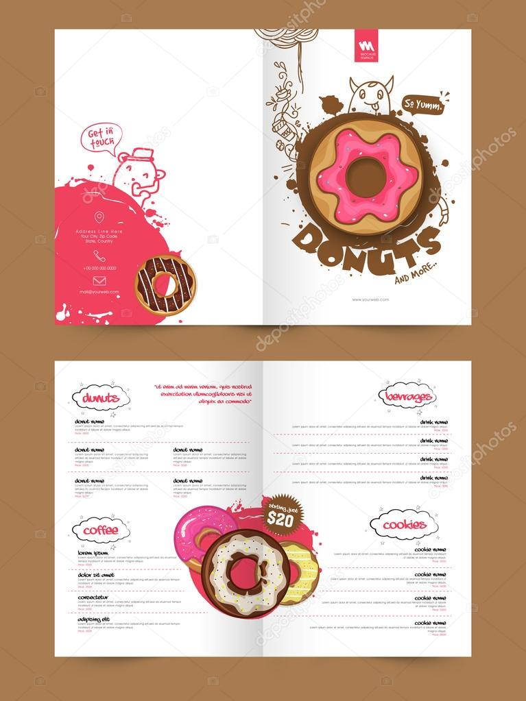 Two Page Brochure Template Or Flyer For Bakery Stock Vector - Bakery brochure template