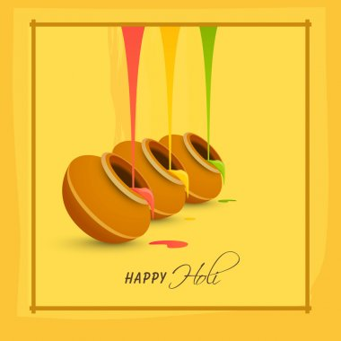 Glossy traditional mud pot, full of liquid colours for Indian Festival, Happy Holi celebration. stock vector