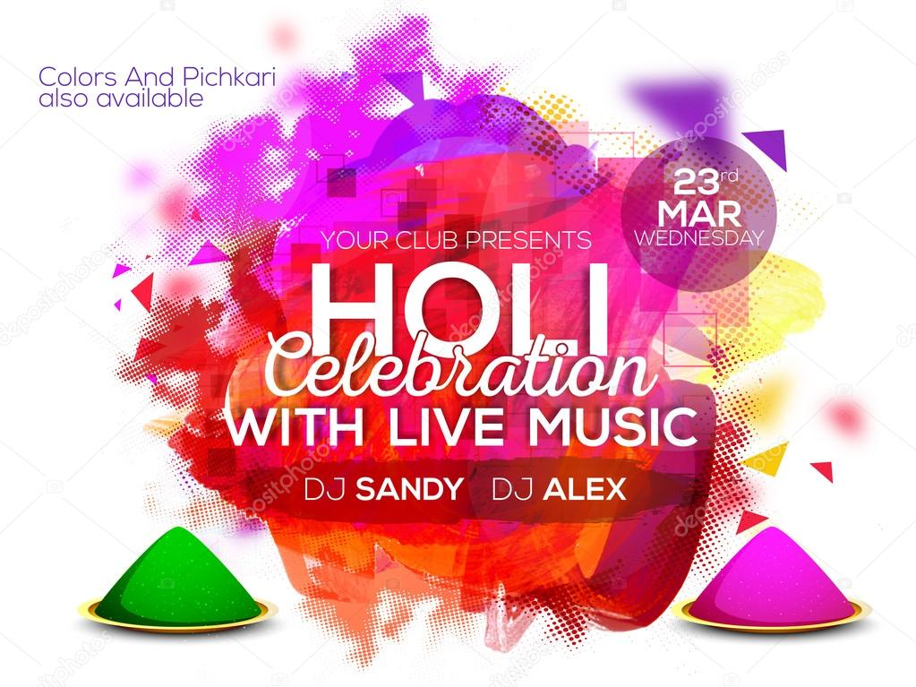 Banner or Invitation for Holi festival celebration. — Stock Vector ...