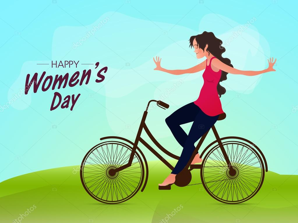Young girl riding bicycle for Women's Day.