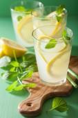 pít čerstvé limonády s mátou v brýlích
