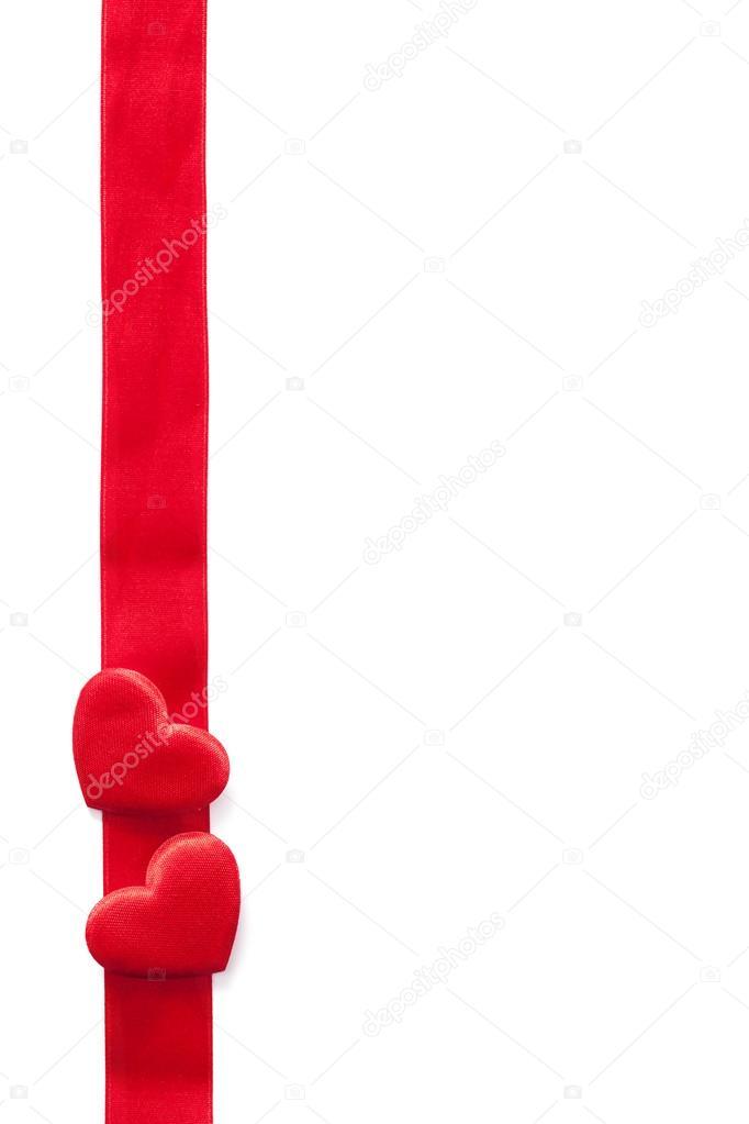 Fondo marco rojo cinta y corazones para San Valentín aislado — Fotos ...