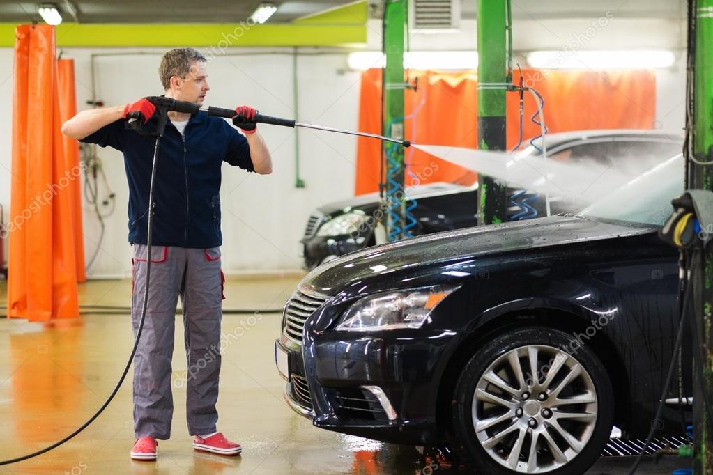 Man Worker Washing Luxury Car On A Car Wash Stock Photo C Nejron