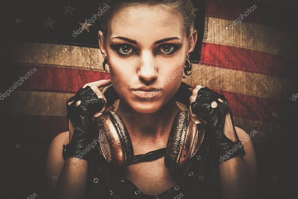 36 Pubg Wallpapers: Steam Punk Girl Against American Flag