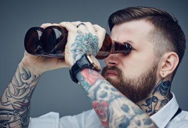 Bearded tattooed man