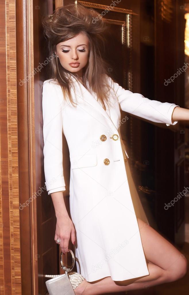 Chaqueta blanca larga mujer