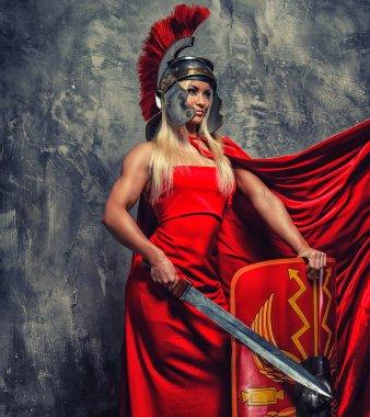 Woman in red fluttering dress