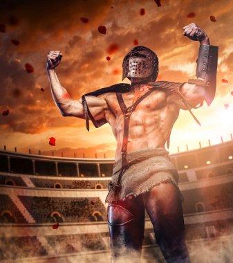 Brutal gladiator in coliseum