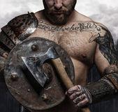 Fotografie muž s viking štít a sekera