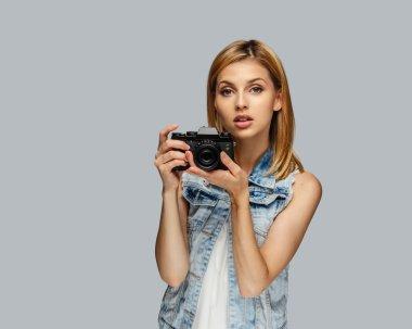 Blond female photographer