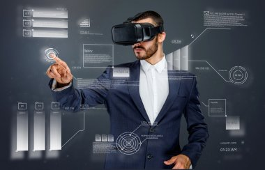 Male with virtual reality glasses