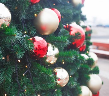 Christmas tree with colorful lights garlands