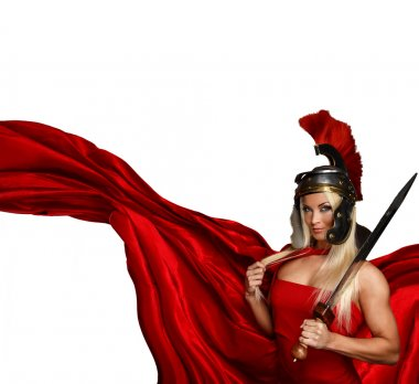 Blonde in a centurtion helmet and a red dress