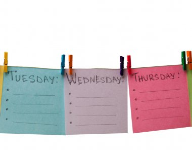 colored paper with the days of the week