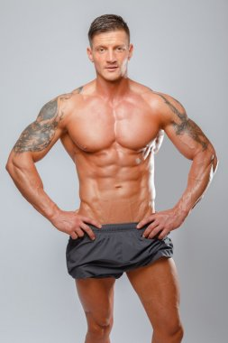 muscular man bodybuilder poses