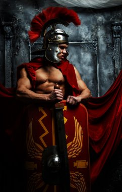 Roman good shaped warrior holds sword and schield