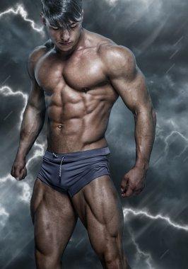 Portrait of saxy, muscular man.