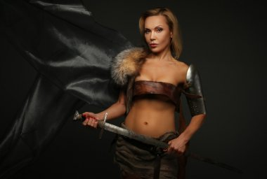 Middle age woman with sword