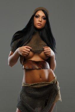 Beautiful woman in armor