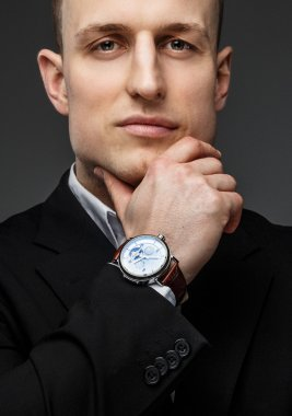 Handsome man in black jacket