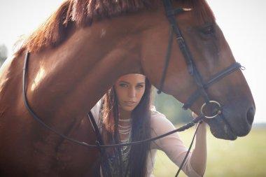 """Картина, постер, плакат, фотообои """"Женщина и коричневые лошади."""", артикул 81550226"""