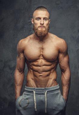 Shirtless muscular guy with beard