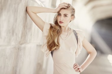 Awesome female with long blond hair.