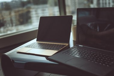 Black and silver laptops.