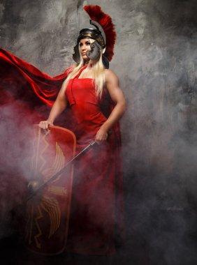 Blong roman woman in red dress.