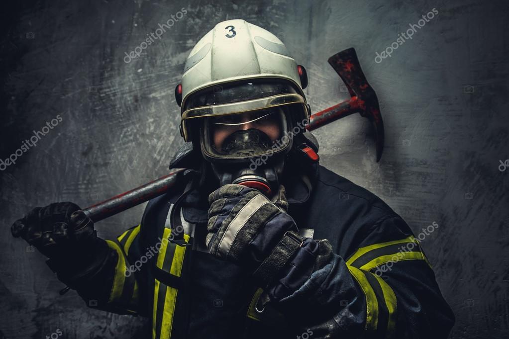 Rescue firefighter in safe helmet