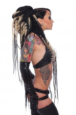 Side view of tattooed emo girl.