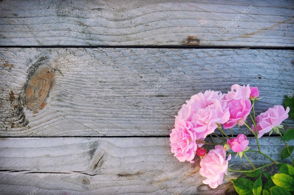 Pink Fresh Roses Flowers On Rustic Wooden Background Place For Text Beautiful Floral Frame Flower Border Flat Lay Overhead View Horizontal