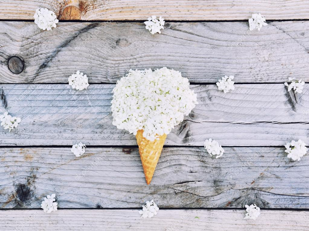 White Hydrangea Flowers In Ice Cream Cone On Rustic Wooden Background Stylish Flat Lay Minimal Concept Summer Pattern Photo By Jularte