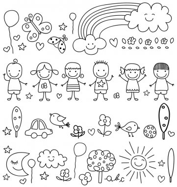 Cute kids and natur elements pattern