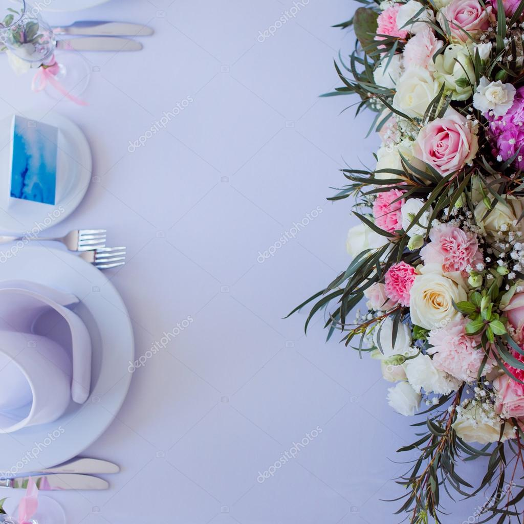 Flower Arrangement On The Table Flowers And White Tablecloth Wedding Roses Peonies Top View Place For Text Stock Photo C Kriscole 116627002
