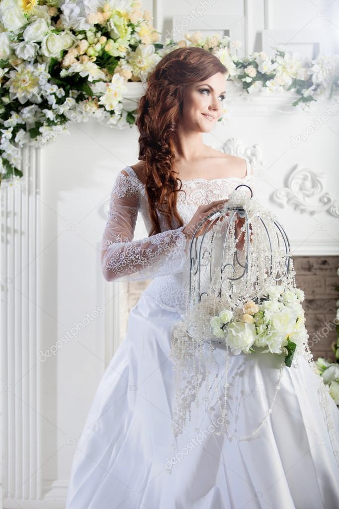 Portrat Des Schonen Braut Hochzeitskleid Dekoration Stockfoto
