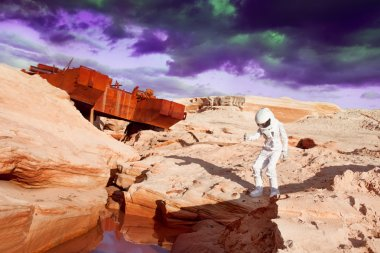 futuristic astronaut on another planet, Mars