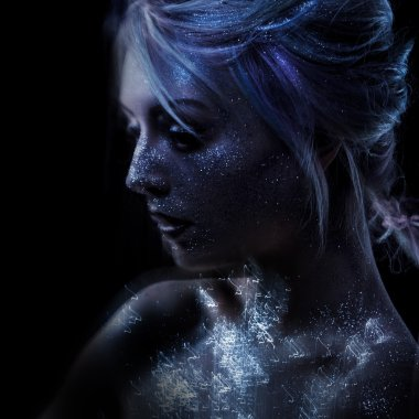ghostly woman, soul. Portrait of a movement effect, creative body art on theme space and stars.