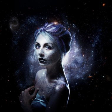 Unusual girl with bright fashion makeup, creative body art on theme space and stars. Elements of this image furnished by NASA.