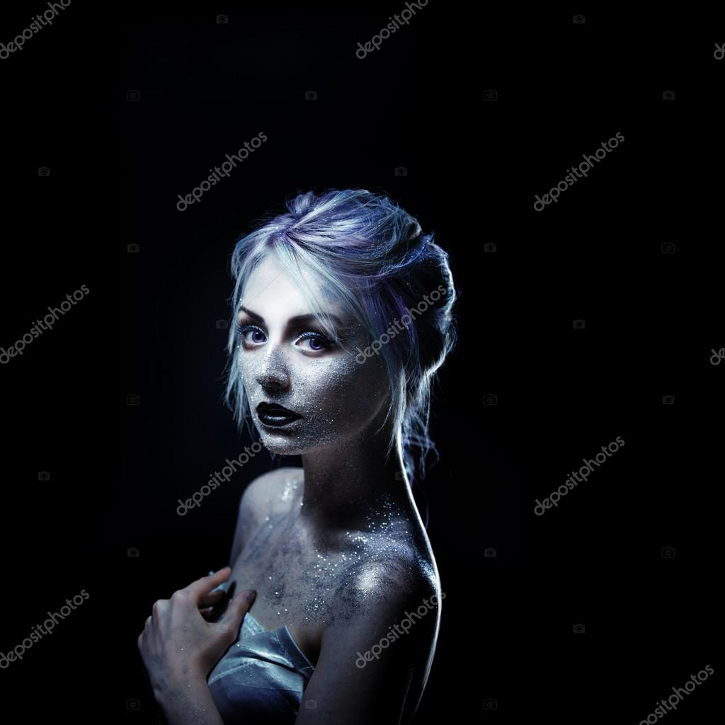 Unusual Girl With Bright Fashion Makeup Creative Body Art On Theme Space And Stars Stock Photo C Kriscole 90171896