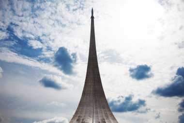 Conquerors of Space Monument in the park outdoors Cosmonautics museum, near VDNK exhibition center, Moscow, Russia
