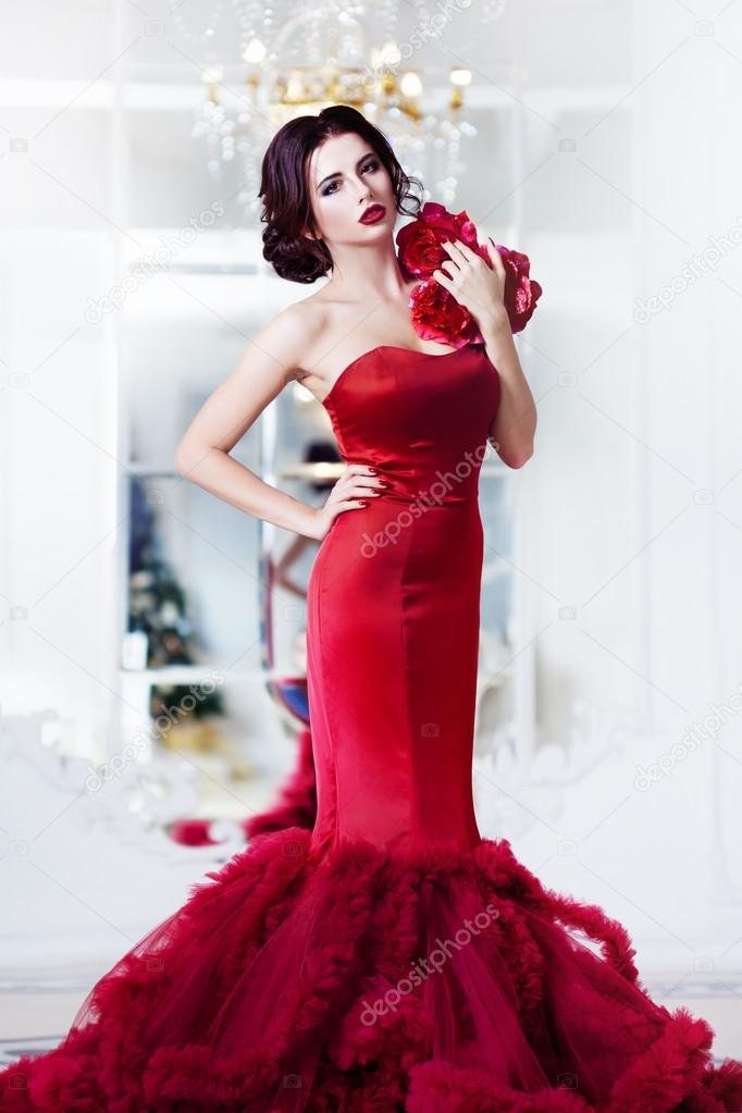 Beauty Brunette Model Woman In Evening Red Dress Beautiful Fashion