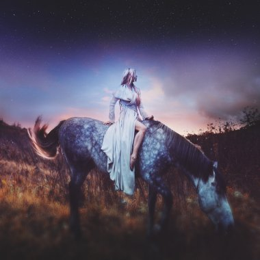 beauty blondie on horseback, amid the fabulous starry sky, character fantasy, roleplay