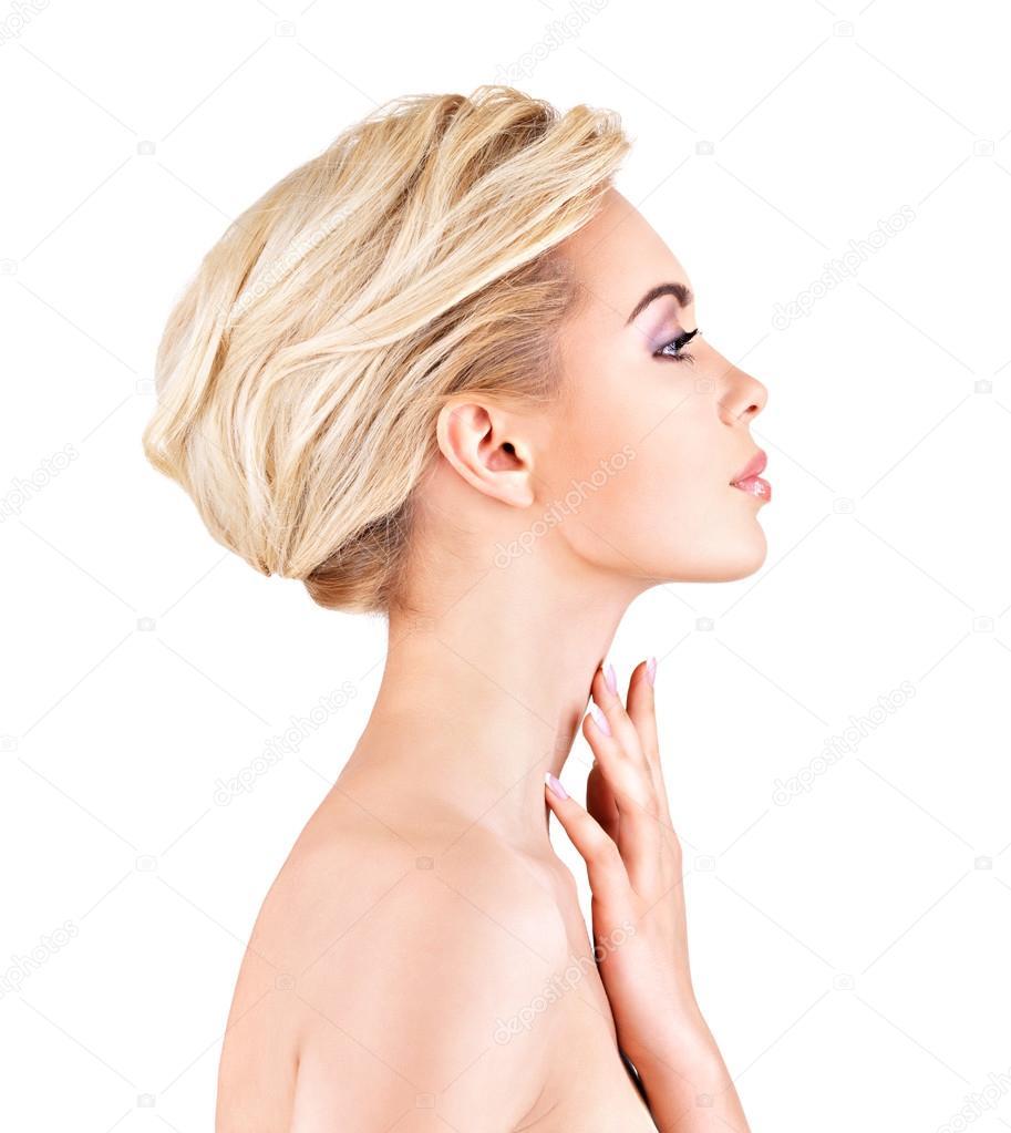 volto di profilo di giovane donna foto stock